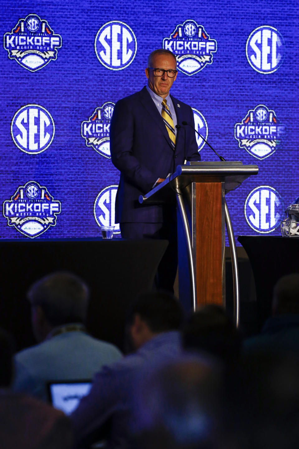 Southeastern Conference commissioner Greg Sankey speaks during the NCAA college football Southeastern Conference Media Days, Monday, July 15, 2019, in Hoover, Ala. (AP Photo/Butch Dill)