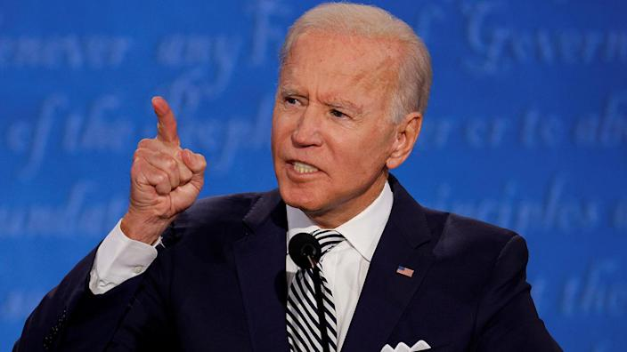 Joe Biden speaks during the first 2020 presidential debate with President Trump at Case Western Reserve University in Cleveland on Tuesday. (Brian Snyder/Reuters)
