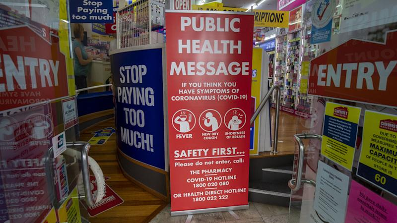 Chemist Warehouse sign asking customers to protect themselves against coronavirus.