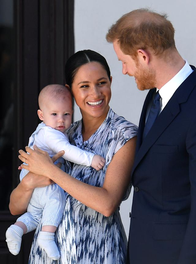 One of Meghan's most searched ensembles of 2019 was a dress by Club Monaco, which she wore to visit Archbishop Desmond Tutu in South Africa, accompanied by baby Archie and Prince Harry. [Photo: Getty]