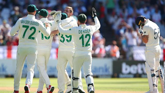 Ollie Pope made an unbeaten half-century for the tourists, but South Africa took nine England wickets on day one in Cape Town.
