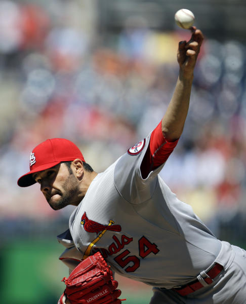 St. Louis Cardinals starting pitcher Jaime Garcia (54) throws during the first inning of a baseball game against the Washington Nationals at Nationals Park Wednesday, April 24, 2013, in Washington. (AP Photo/Alex Brandon)