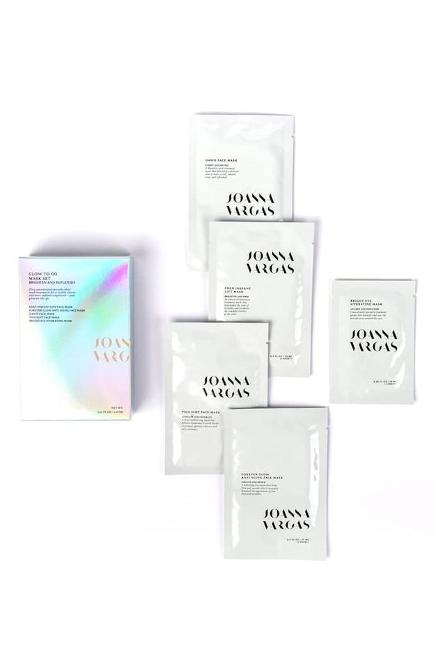 "<p>If you're always traveling, this <a href=""https://www.popsugar.com/buy/Joanna-Vargas-Glow-Go-Mask-Set-402521?p_name=Joanna%20Vargas%20Glow%20to%20Go%20Mask%20Set&retailer=shop.nordstrom.com&pid=402521&price=75&evar1=bella%3Aus&evar9=45633657&evar98=https%3A%2F%2Fwww.popsugar.com%2Fphoto-gallery%2F45633657%2Fimage%2F45633665%2FJoanna-Vargas-Glow-Go-Mask-Set&list1=nordstrom%2Cbeauty%20shopping%2Cnordstrom%20beauty%2Cskin%20care&prop13=api&pdata=1"" rel=""nofollow"" data-shoppable-link=""1"" target=""_blank"" class=""ga-track"" data-ga-category=""Related"" data-ga-label=""https://shop.nordstrom.com/s/joanna-vargas-glow-to-go-mask-set/5096515?origin=category-personalizedsort&amp;breadcrumb=Home%2FBeauty%2FSkin%20Care&amp;color=none"" data-ga-action=""In-Line Links"">Joanna Vargas Glow to Go Mask Set</a> ($75) is going to be your new best friend. This collection of five masks will surely combat any skin problem you've been battling, from dehydration to dullness.</p>"