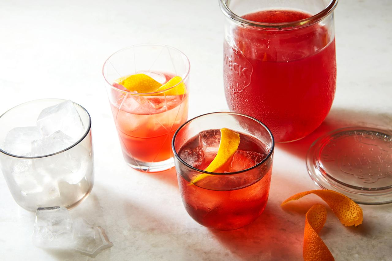 """If you like a <a href=""""https://www.epicurious.com/recipes/food/views/negroni-56390123?mbid=synd_yahoo_rss"""">Negroni</a>, you might like a Boulevardier even more when the weather's cold. This version is batched for a crowd, and uses a little Scotch for added intrigue. <a href=""""https://www.epicurious.com/recipes/food/views/scotchy-boulevardiers-for-a-crowd?mbid=synd_yahoo_rss"""">See recipe.</a>"""