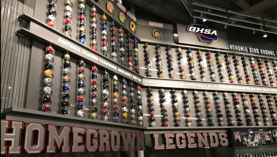 One nice touch at Mercedes-Benz Stadium: a display featuring helmets of every Georgia high school team. (Via Yahoo Sports)