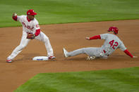 St Louis Cardinals Tommy Edmann is out at second as Philadelphia Phillies second baseman Jean Segura throws to first for a double play during the first inning of a baseball game Friday, April 16, 2021, in Philadelphia. (AP Photo/Laurence Kesterson)