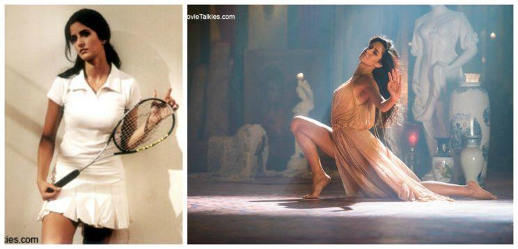 <p>(Left) Katrina Kaif from the movie Sarkar (2005). Despite not being a naturally gifted actress, Katrina has managed to become one of the leading stars in B-Town, owing to her hardwork and commitment. (Right) Katrina's scintillating dance performance from the movie Fitoor (2016). She is sensuous, enthralling, and a joy to behold on screen. No wonder all her dance numbers have become a hit.</p>