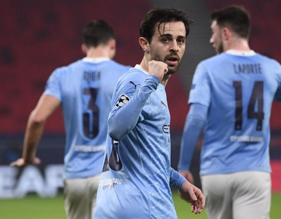 <p>Bernardo Silva scored and provided an assist in the first leg against Borussia Monchengladbach</p> (AFP via Getty Images)