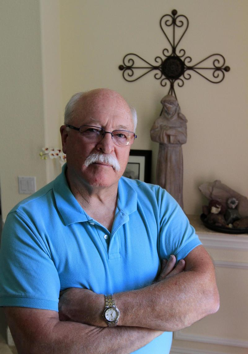 In this photo taken Monday May 21, 2012, Paul Palecek, who was molested as a Franciscan seminary student back in the 1960's is seen in his home in Folsom, Calif. Palecek is one of two dozen former students  who have accused the Rev. Mario Cimmarrusti of molestation while they attended St. Anthony's,  a seminary boarding school for young boys who hoped to join the close-knit Catholic order.(AP Photo/Rich Pedroncelli)