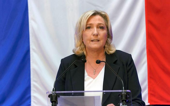 French far-right National Rally leader Marine Le Pen delivers speech during electoral night for France Regional elections first round on June 20, 2021 in Henin-Beaumont, France. - Getty Images Europe