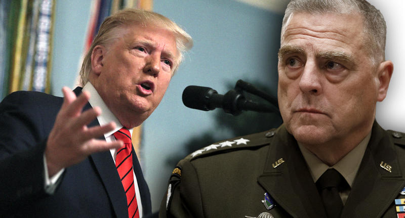 President Trump and Gen. Mark Milley. (Photo illustration: Yahoo News; photos: Andrew Harnik/AP, AP)