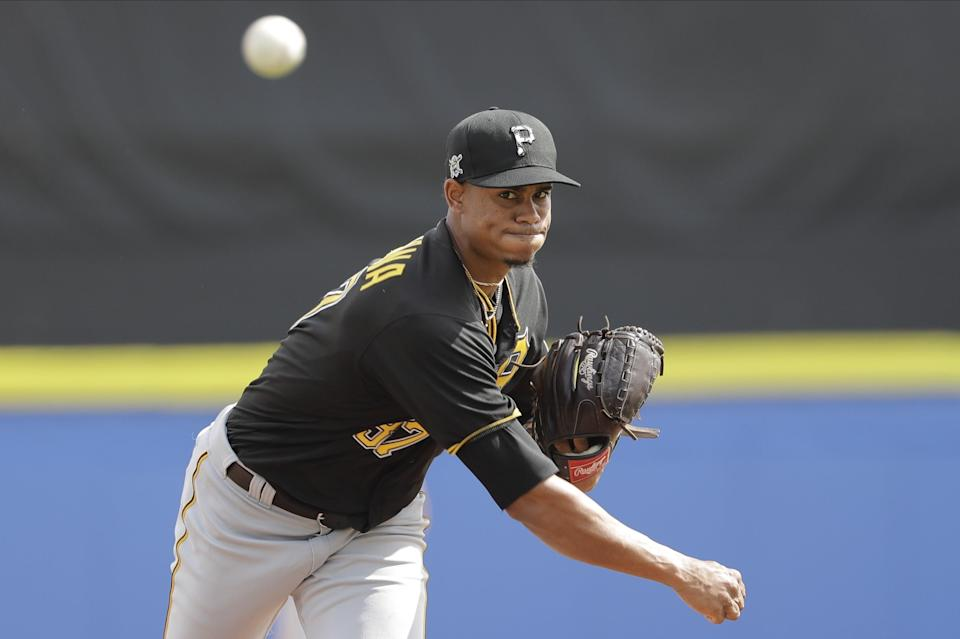 Pittsburgh Pirates' Edgar Santana warms up during the fourth inning of a spring training baseball game against the Toronto Blue Jays Monday, March 2, 2020, in Dunedin, Fla. (AP Photo/Frank Franklin II)
