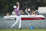 Billy Horschel drives off the No. 14 tee during a round of eight match at the Dell Technologies Match Play Championship golf tournament Saturday, March 27, 2021, in Austin, Texas. (AP Photo/David J. Phillip)