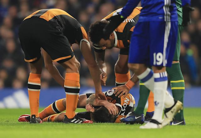 Ryan Mason after the challenge against Chelsea.