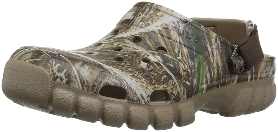 """<h2>Crocs Unisex Offroad Sport Realtree Max-5 2 Clog</h2><br>We all know that Crocs are the ultimate outdoor house shoe, but this new, ultra-treaded pair will take you a state of deep relaxation to deep into the woods, thanks to the increased traction of the chiseled lug soles. <br><br><strong>Crocs</strong> Unisex Offroad Sport Realtree Max-5 2 Clog, $, available at <a href=""""https://www.amazon.com/Crocs-Unisex-Adult-Offroad-Chocolate/dp/B071ZSY8R4"""" rel=""""nofollow noopener"""" target=""""_blank"""" data-ylk=""""slk:Amazon"""" class=""""link rapid-noclick-resp"""">Amazon</a>"""