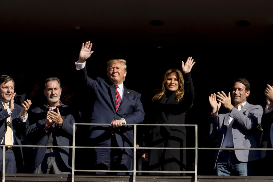 President Donald Trump has visited a number of sporting events lately. (AP Photo/Andrew Harnik)