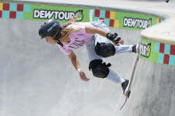 FILE - In this May 23, 2021, file photo, Sky Brown, of Great Britain, competes in the women's Park Final during an Olympic qualifying skateboard event at Lauridsen Skatepark, in Des Moines, Iowa. Skating is one of four debut Olympic sports, along with karate, surfing and sport climbing. (AP Photo/Charlie Neibergall, File)