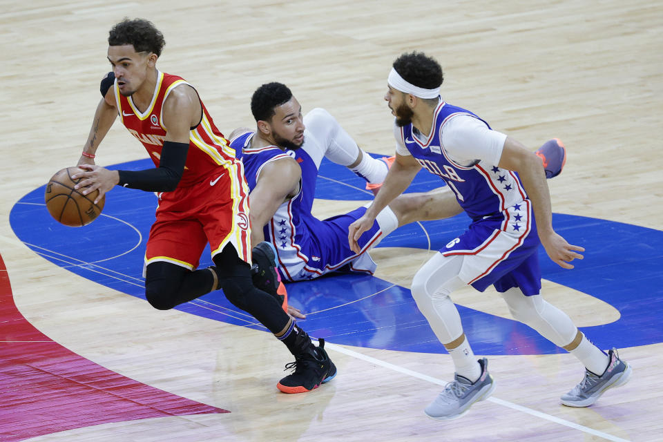 Trae Young and the Hawks left Philly flat on its back. (Photo by Tim Nwachukwu/Getty Images)