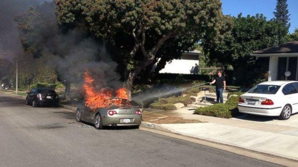 PHOTO: Brandie Macias told KABC-TV that her 2005 BMW Z4 spontaneously caught fire in the middle of the afternoon while it was parked on the side of the street. (Obtained by ABC News)