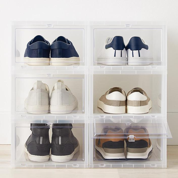 """If Dad's a sneakerhead, help keep his collection organized with this clear shoebox set that'll allow him to show off his latest rotation. $65, The Container Store. <a href=""""https://www.containerstore.com/s/large-drop_front-shoe-box-case-of-6/d?q=clear+shoe+box&productId=11008454"""" rel=""""nofollow noopener"""" target=""""_blank"""" data-ylk=""""slk:Get it now!"""" class=""""link rapid-noclick-resp"""">Get it now!</a>"""