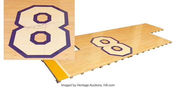 A portion of the Staple Center floor from Kobe Bryant's final game is up for bid from Heritage Auctions.