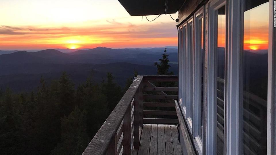 """<p>A spectacular sunset at the Big Creek Baldy tower is an appealing part of an overnight here.</p><div class=""""cnn--image__credit""""><em><small>Credit: Courtesy Ben A. Goldfarb / CNN</small></em></div>"""