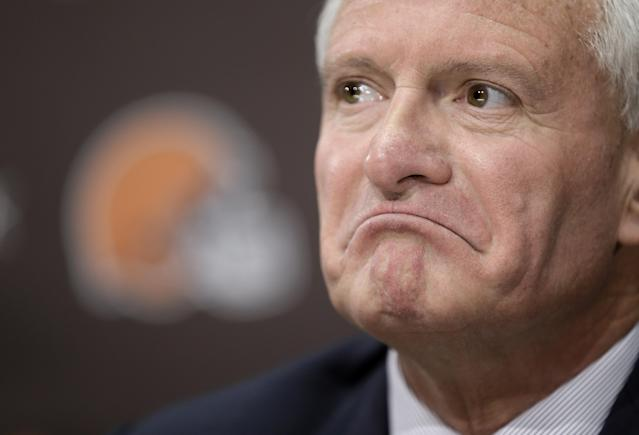 Cleveland Browns owner Jimmy Haslam listens to a question during a news conference Tuesday, Feb. 11, 2014, in Berea, Ohio. Haslam announced Tuesday that CEO Joe Banner will step down in the next two months and general manager Michael Lombardi is leaving the team. Haslam also said assistant GM Ray Farmer, who was pursued by Miami to be the Dolphins' GM this winter, has been promoted to general managerand will immediately take the over the team's football operations and lead the Browns during free agency and draft. (AP Photo/Tony Dejak)