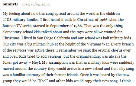 A commenter called SunnyD recounts her personal experience on Rob Weir's blog about the song.