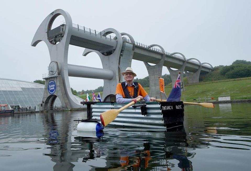 Michael Stanley, known as 'Major Mick', with his home-made boat 'Tintanic II' at the Falkirk Wheel (Andrew Milligan/PA) (PA Wire)