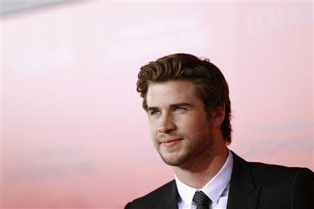 """Cast member Liam Hemsworth poses at the premiere of """"The Hunger Games: Catching Fire"""" in Los Angeles, California November 18, 2013. REUTERS/Mario Anzuoni"""