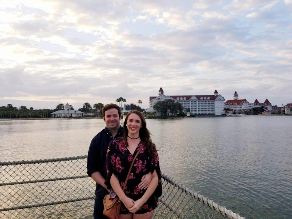 Josh Atkinson of England and Alexis Olson of Minnesota pose during their first date at Disney World in February 2019.