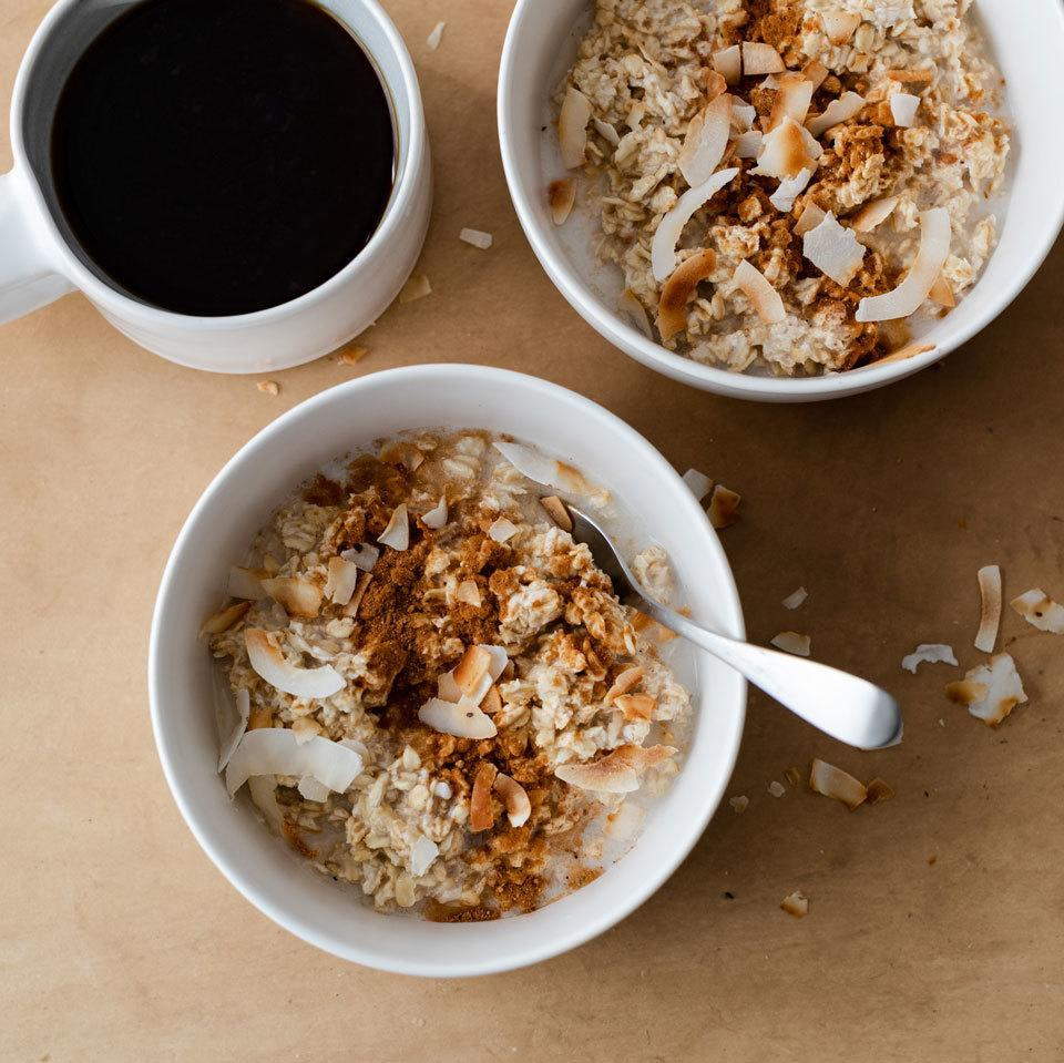 """<p>Give basic cinnamon oatmeal a spice upgrade with the warm and toasty notes of chai. Coconut milk makes these overnight oats ultra-creamy and delicately sweet too. <a href=""""https://www.eatingwell.com/recipe/269658/coconut-chai-spiced-overnight-oats/"""" rel=""""nofollow noopener"""" target=""""_blank"""" data-ylk=""""slk:View Recipe"""" class=""""link rapid-noclick-resp"""">View Recipe</a></p>"""