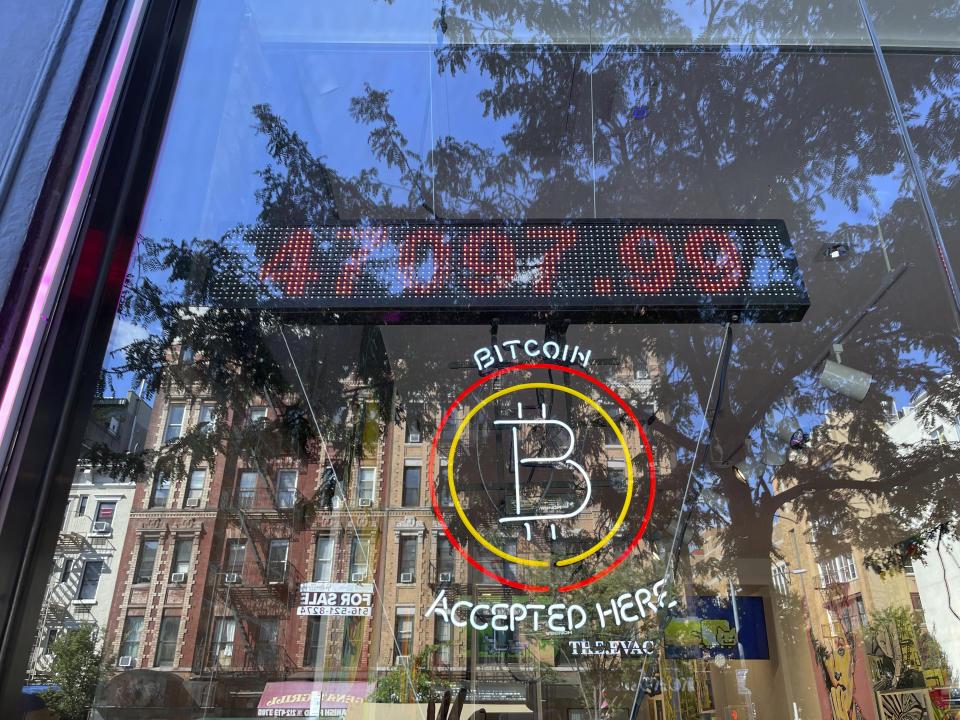 Photo by: STRF/STAR MAX/IPx 2021 9/2/21 United Wholesale Mortgage (UWM), the nation's second-largest mortgage lender, to give borrowers the option to pay their mortgages in Bitcoin. Here, a store in the East Village of Manhattan accepts Bitcoin as a form of payment.