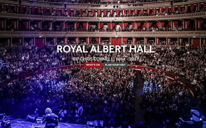 Royal Albert Hall changes its homepage in tribute to Chris Cornell