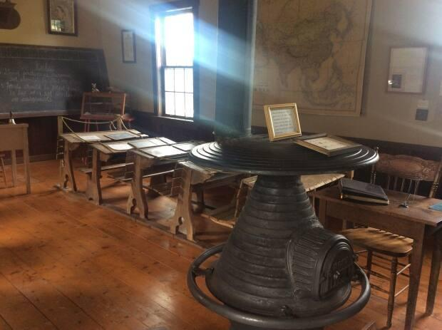 The coal-burning stove was donated to the Lower Bedeque schoolhouse in memory of a teacher who taught there in 1924-1925.