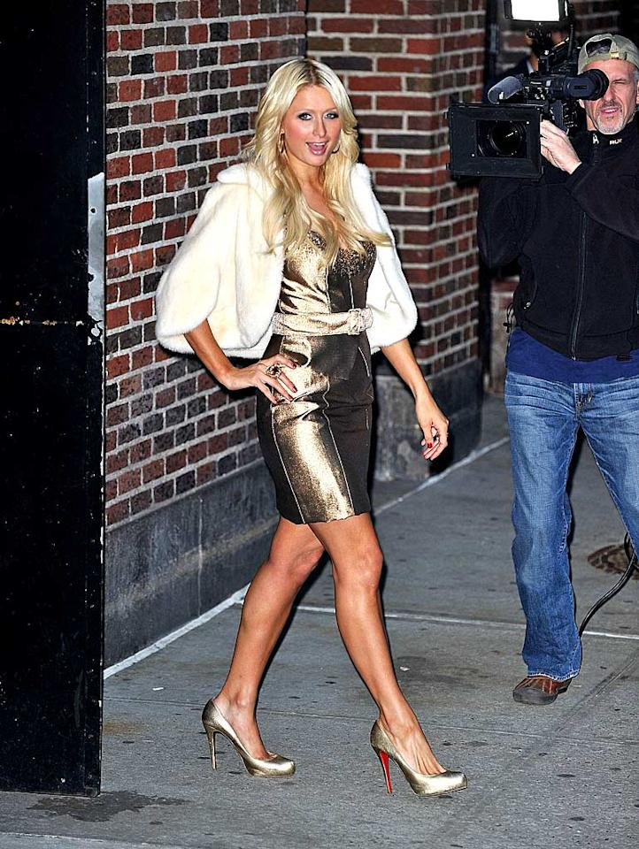 """Next stop? """"Late Show With David Letterman,"""" where Paris got to promote her many fragrances and her new iPhone app. James Devaney/<a href=""""http://www.wireimage.com"""" target=""""new"""">WireImage.com</a> - February 17, 2011"""