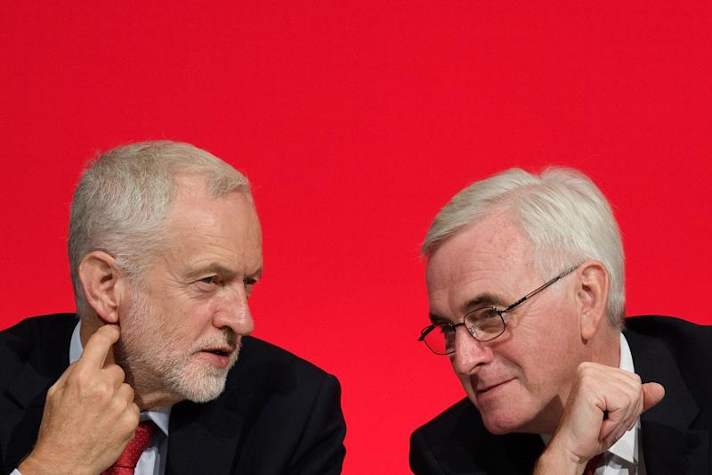 Labour Party leader Jeremy Corbyn (L) sits with Shadow Chancellor of the Exchequer John McDonnell. Photo: Leon Neal/Getty Images
