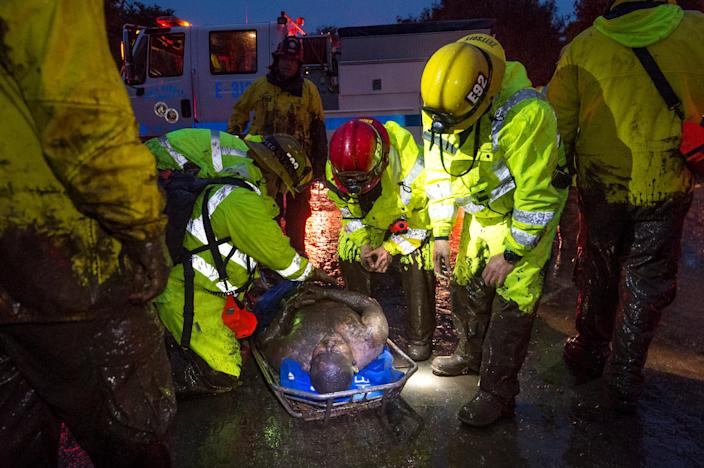 <p>Emergency personnel carry a man covered in mud after a mudslide in Montecito, Calif., Jan. 9, 2018. (Photo: Kenneth Song/Santa Barbara News-Press via Reuters) </p>