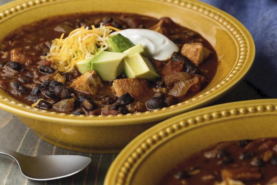 """<p>A hearty lunch is well-deserved the day after a hectic holiday. We recommend you <a href=""""https://www.thedailymeal.com/cook/heres-your-guide-every-type-bean-and-best-recipes-them-0?referrer=yahoo&category=beauty_food&include_utm=1&utm_medium=referral&utm_source=yahoo&utm_campaign=feed"""" rel=""""nofollow noopener"""" target=""""_blank"""" data-ylk=""""slk:cook with beans"""" class=""""link rapid-noclick-resp"""">cook with beans</a> and add leftover turkey into a flavorful pot of piping hot chili. </p> <p><a href=""""https://www.thedailymeal.com/best-recipes/leftover-turkey-chili?referrer=yahoo&category=beauty_food&include_utm=1&utm_medium=referral&utm_source=yahoo&utm_campaign=feed"""" rel=""""nofollow noopener"""" target=""""_blank"""" data-ylk=""""slk:For the Turkey Chili recipe, click here."""" class=""""link rapid-noclick-resp"""">For the Turkey Chili recipe, click here.</a></p>"""
