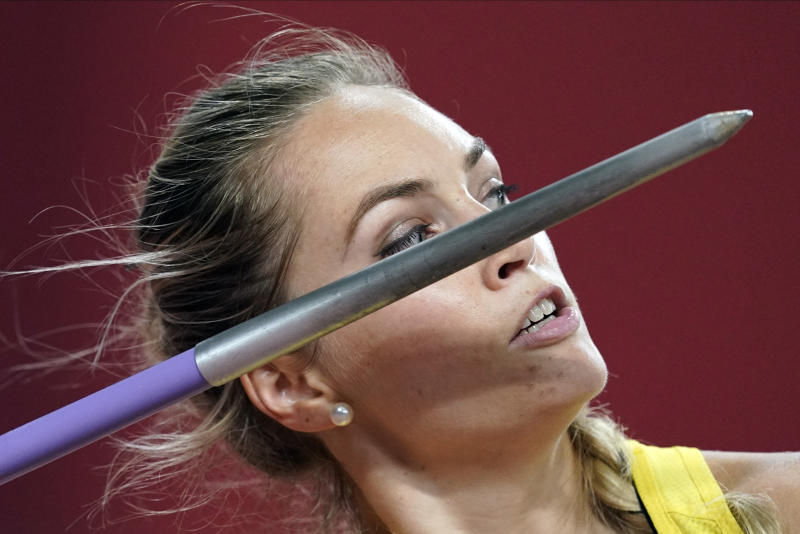 Kelsey-Lee Barber, of Australia, competes in the women's javelin throw final at the World Athletics Championships in Doha, Qatar, Tuesday, Oct. 1, 2019. (AP Photo/David J. Phillip)