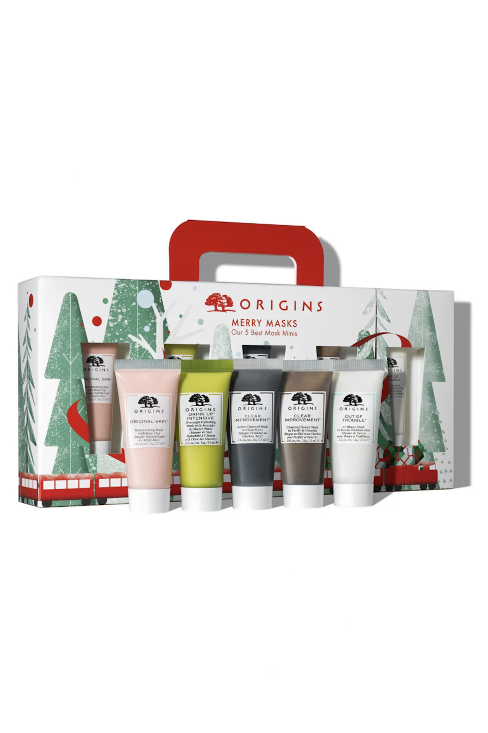 """<h2>Origins Merry Masks Travel Size Face Mask Set</h2><br>Skip the trip to the spa and stay home with this five-piece set of mini masks, ranging from hydrating to clarifying.<br><br><strong>Origins</strong> Merry Masks Travel Size Face Mask Set, $, available at <a href=""""https://go.skimresources.com/?id=30283X879131&url=https%3A%2F%2Fwww.nordstrom.com%2Fs%2Forigins-merry-masks-travel-size-face-mask-set-usd-30-value%2F6440206"""" rel=""""nofollow noopener"""" target=""""_blank"""" data-ylk=""""slk:Nordstrom"""" class=""""link rapid-noclick-resp"""">Nordstrom</a>"""
