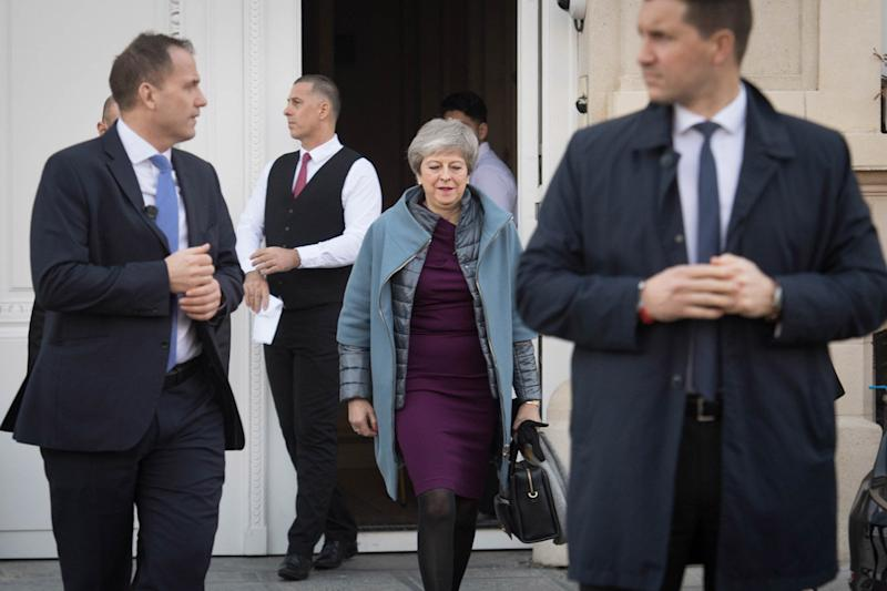 Theresa May leaves Brussels (PA)