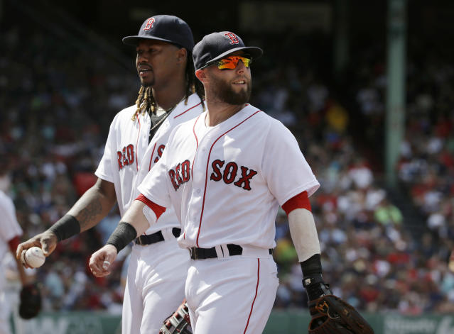 FILE - In this Aug. 14, 2016, file photo, Boston Red Sox's Hanley Ramirez, left, and Dustin Pedroia step off the field in the fourth inning of a baseball game against the Arizona Diamondbacks, in Boston. The Boston Red Sox have designated Hanley Ramirez for assignment to make room for Dustin Pedroia on the 25-man roster as he returns from the disabled list. (AP Photo/Steven Senne, File)