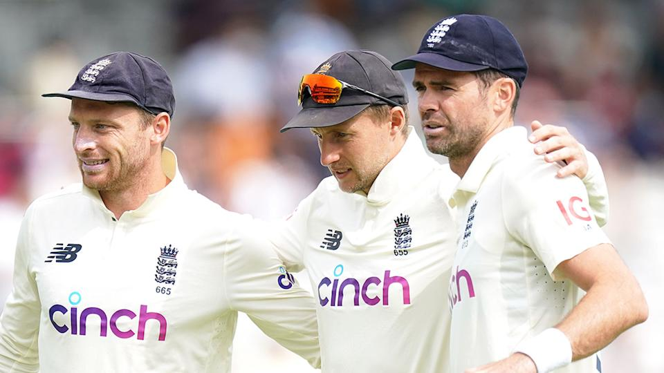 Seen here, England's players embrace during a Test match.