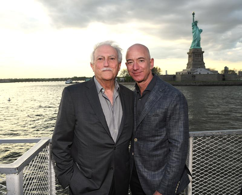 NEW YORK, NEW YORK - MAY 15: Miguel Bezos and Jeff Bezos arrive at the Statue Of Liberty Museum Opening Celebration at Battery Park on May 15, 2019 in New York City. (Photo by Kevin Mazur/Getty Images for Statue Of Liberty-Ellis Island Foundation)