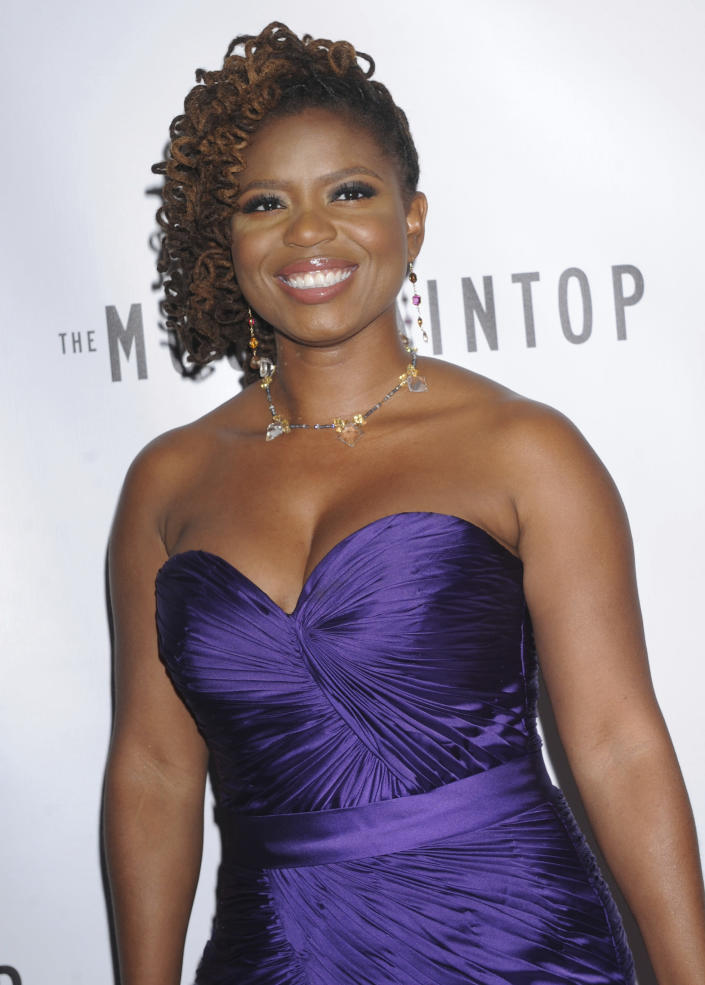 """FILE - Playwright Katori Hall attends the Broadway premiere of her play """" The Mountaintop"""" in New York on Oct. 13, 2011. Hall won the Pulitzer Prize for drama for her play """"The Hot Wing King."""" (AP Photo/Louis Lanzano, File)"""