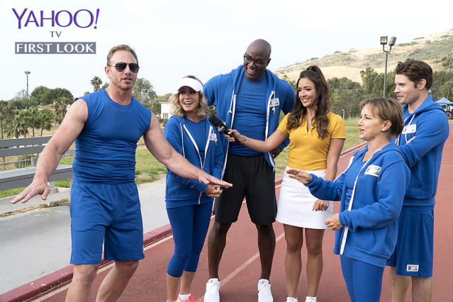 <p>Ziering <em>(Beverly Hills, 90210</em>) pumps up Team Primetime Soaps in front of reporter Hubbarth.<br><br>(Photo Credit: Byron Cohen/ABC) </p>