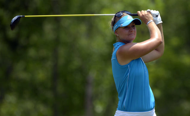 Anna Nordqvist, of Sweden, hits her tee shot on the fourth hole in the final round of the Airbus LPGA Classic golf tournament at Magnolia Grove on Sunday, May 25, 2014, in Mobile, Ala. (AP Photo/G.M. Andrews)