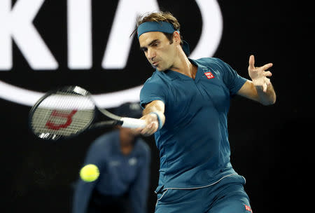 Tennis - Australian Open - First Round - Rod Laver Arena, Melbourne, Australia, January 14, 2019. Switzerland's Roger Federer in action during the match against Uzbekistan's Denis Istomin. REUTERS/Kim Kyung-Hoon