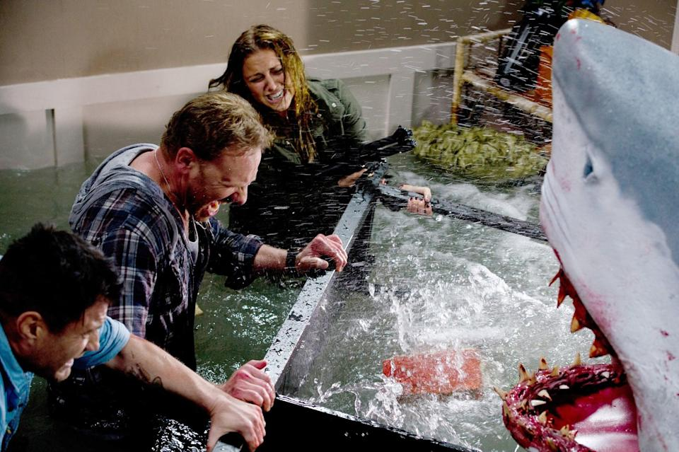 """<p>Cheesy, bloody horror at its finest, <strong>Sharknado</strong>'s Z-list cast and cringe-worthy dialogue are part of its appeal. Watch if you dare!</p> <p><a href=""""https://www.amazon.com/Sharknado-Tara-Reid/dp/B00EFASRQ0/ref=sr_1_1?dchild=1&amp;keywords=Sharknado&amp;qid=1597680752&amp;s=instant-video&amp;sr=1-1"""" class=""""link rapid-noclick-resp"""" rel=""""nofollow noopener"""" target=""""_blank"""" data-ylk=""""slk:Watch Sharknado on Amazon Prime now"""">Watch <b>Sharknado</b> on Amazon Prime now</a>.</p>"""